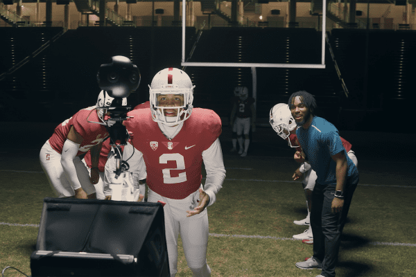 Photo of Brandon Simmons delivering line to 360 Camera in Stanford Stadium