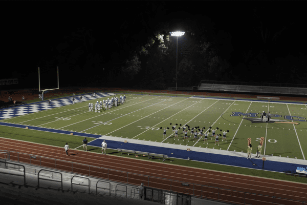 Wide shot of the stadium location for CrashCourse football scene
